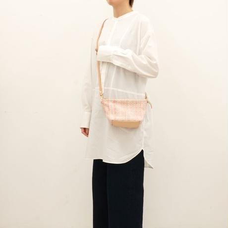 リボン織りのミニポシェット pink x gray