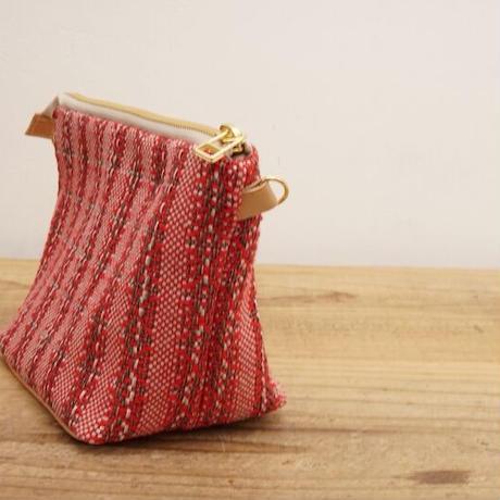 リボン織りのミニポシェット brown x red