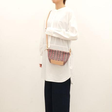 リボン織りのミニポシェット pink x navy