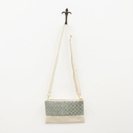 2柄入りのミニショルダー リネン white & green