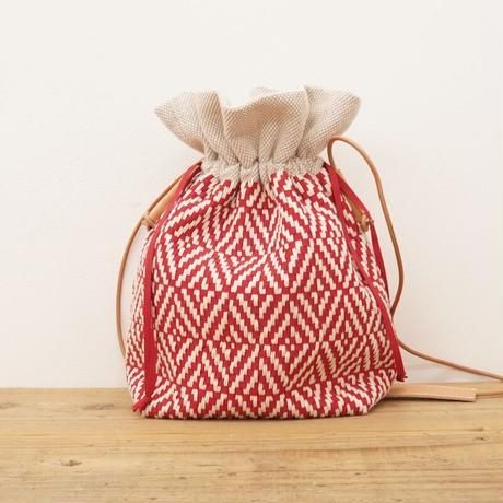 リボン織り ダイヤ柄 巾着バッグ white x red