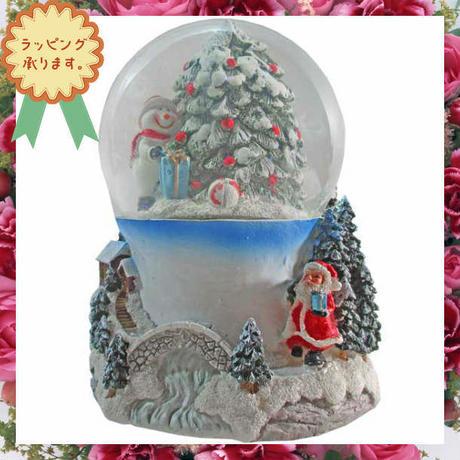 クリスマス オルゴール LED ライト スノードーム ウォータードーム ハンドメイド i0282