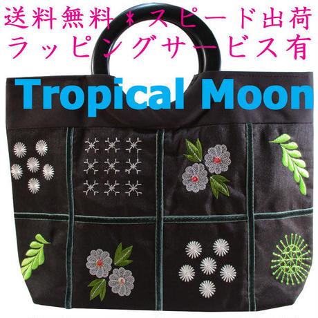 トートバッグ レディース ブラック 刺繍 ハンドメイド ベトナム 雑貨 v1062