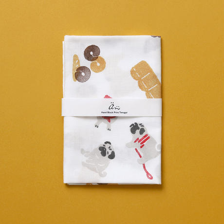 【手拭い】パンとパグ / ブロックプリント