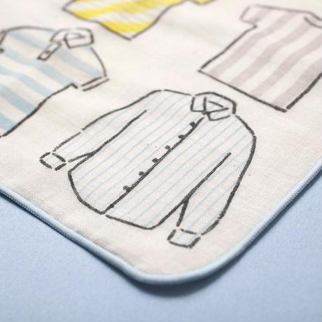 【ガーゼハンカチ】シャツとネクタイ(ブルー)/ ブロックプリント
