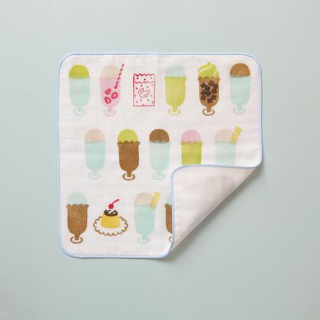【ガーゼハンカチ】Ice cream float(ミント) / ブロックプリント