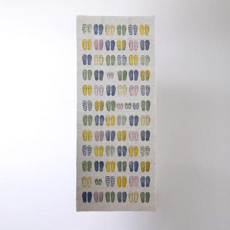 【綿麻手拭い】ビーチサンダル / ブロックプリント