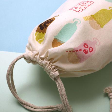 【 巾着(小)】Ice cream float(ミント)/ ブロックプリント