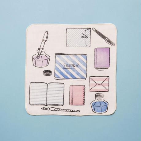 【ガーゼハンカチ】ノートとペン(桑の実色)/ ブロックプリント