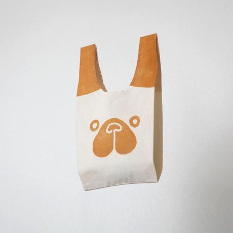 【エコバッグ(小)】パグ(麦色) / ブロックプリント