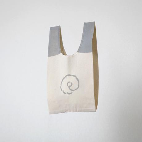 【エコバッグ(小)】パグ(ライトグレー) / ブロックプリント