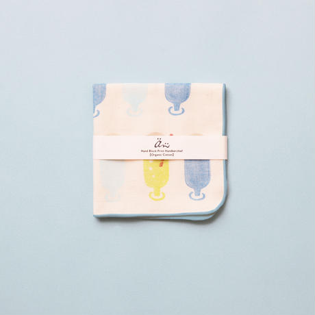 【ガーゼハンカチ】Ice cream float / ブロックプリント