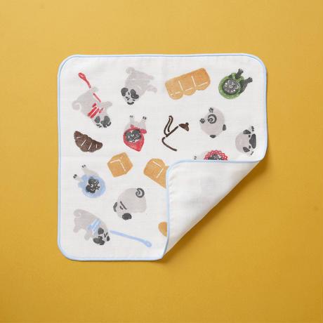 【ガーゼハンカチ】パンとパグ / ブロックプリント