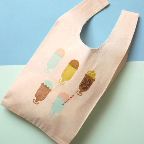 【エコバッグ(小)】Ice cream float(ミント)/ ブロックプリント