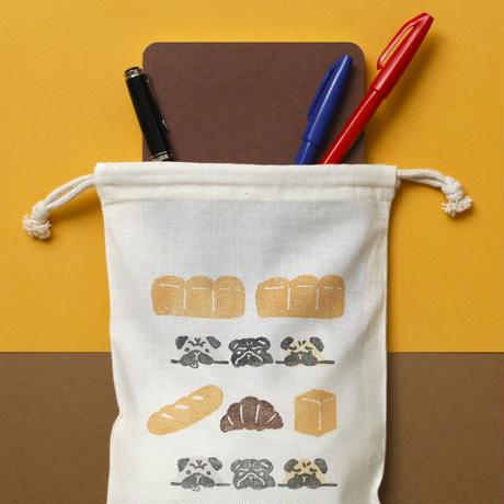 【 巾着(小)】パンとパグ / ブロックプリント