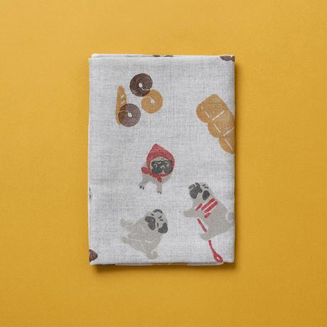 【綿麻手拭い】パンとパグ / ブロックプリント