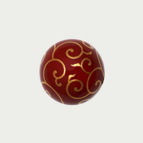 輪島塗 赤漆 蒔絵「唐草」ピンブローチ