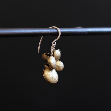 ヤマノイモのタネ 2粒 brass pierce (片耳)