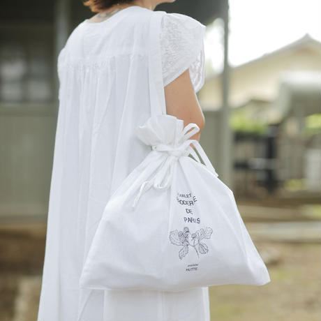 【HUTTE. × つくりら】巾着バック 野いちご/白