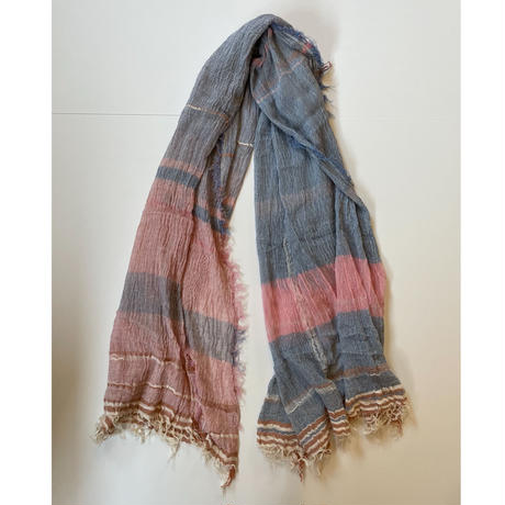 tamaki niime  roots shawl BIG . cotton   A ピンクグレー×ブルー