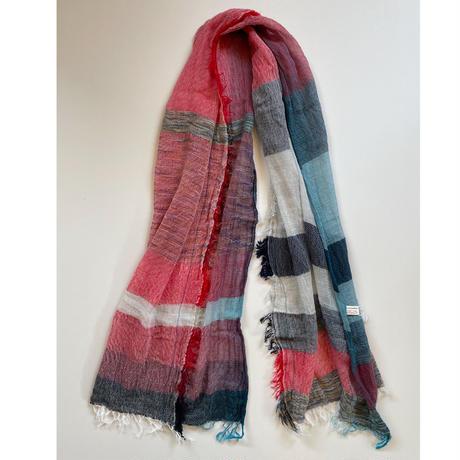 tamaki niime  roots shawl MIDDLE cotton  J.レッド×ホワイト×ターコイズ系