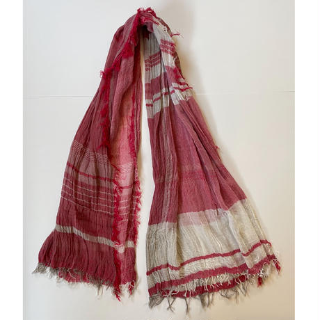 tamaki niime  roots shawl BIG . cotton   C.レッド×ホワイト×ベージュ