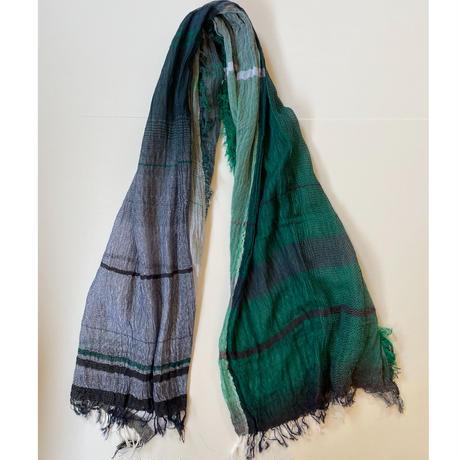 tamaki niime  roots shawl BIG . cotton   E.グリーン×ホワイト×ネイビー