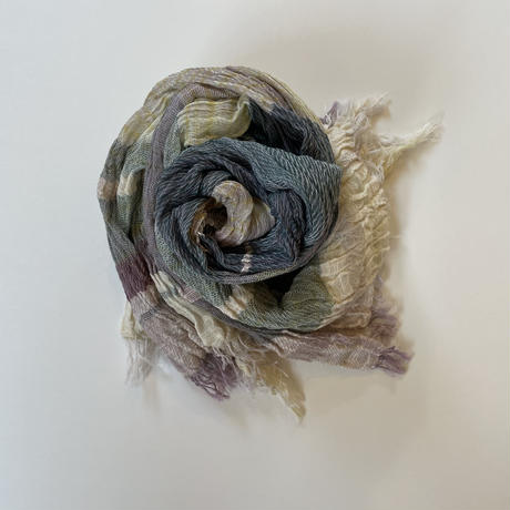 tamaki niime  roots shawl BIG . cotton   D.イエロー×ターコイズ×ネイビー