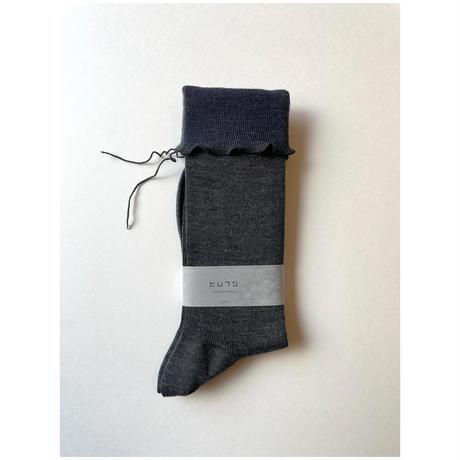 ヒムカシ靴下 washable wool ・ top middle gray × blue