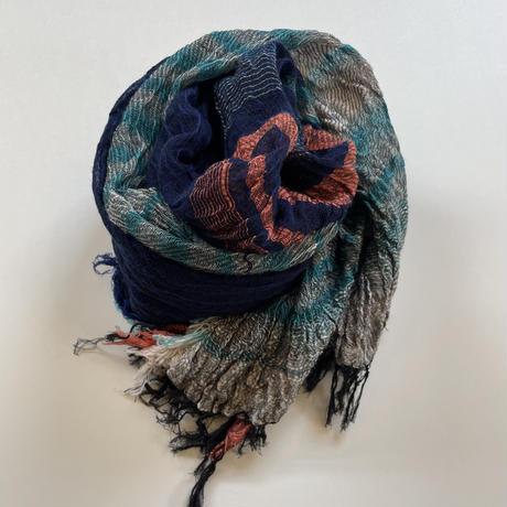 tamaki niime  roots shawl MIDDLE cotton  G.ネイビー×ブルー×オレンジ系
