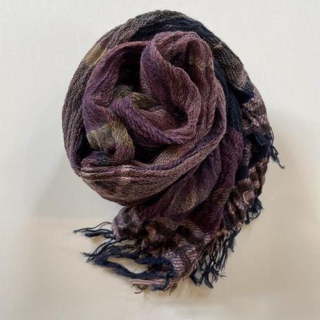 tamaki niime  roots shawl MIDDLE cotton  D.パープル×ネイビー系