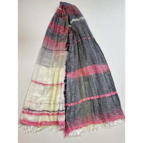 tamaki niime  roots shawl MIDDLE cotton  E.ピンク×ホワイト×ネイビー系