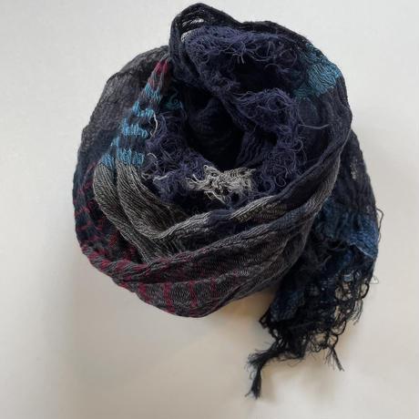 tamaki niime  roots shawl MIDDLE cotton  H.ネイビー×ブルー×パープル系