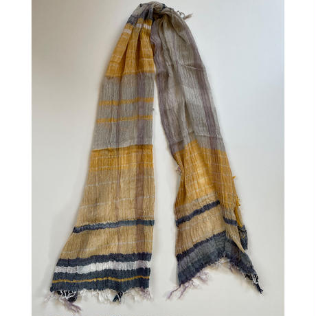 tamaki niime  roots shawl MIDDLE cotton  L.イエロー×グレー×ネイビー系