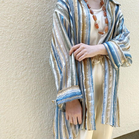 mulch color striped sheer shirt〈st200340〉