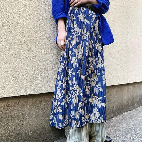 floral pattern pleats skirt〈sk200314〉