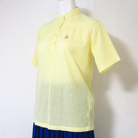 ブラウス 半袖 スタンドカラー レモン色 マンシングウェア 【古着】