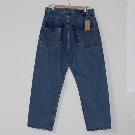 KNIFEWING USA 501 TUCK TAPERED WIDE PANTS  BLUE M ④