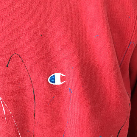 90's CHAMPION REVERSE WEAVE PAINT SWEAT RED