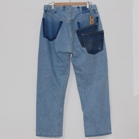 KNIFEWING USA 501 TUCK TAPERED WIDE PANTS 2 BLUE M ②