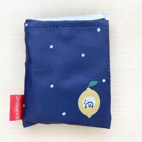 mizutamaエコバッグ(小) レモンドット柄ブルー