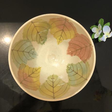 京焼 抹茶碗 彩木の葉 瑞光