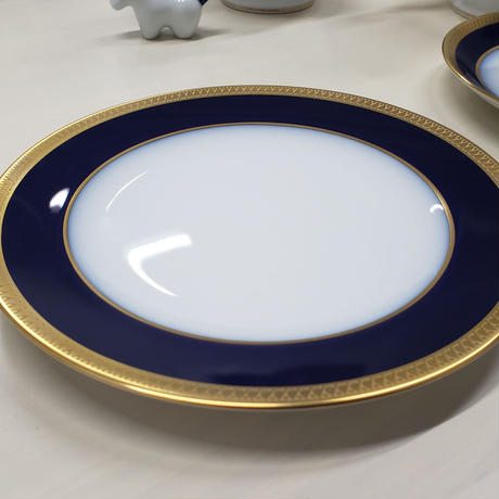 大倉陶園 瑠璃片葉金蝕 17cmパン皿 1枚