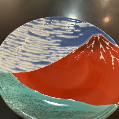 九谷焼  縁起絵変り 赤富士 豆皿  KSO-324