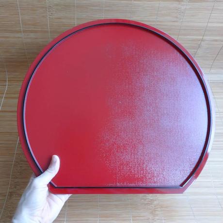 紀州塗 日本製 半月両面懐盆 36cm