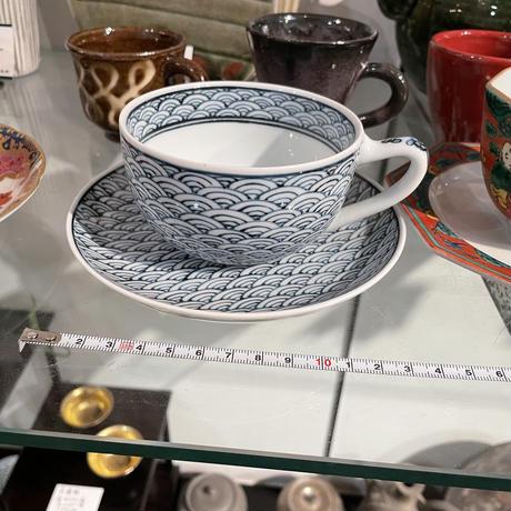 手がき 有田 青海波 碗皿 コーヒー碗皿