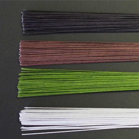 地巻きワイヤー36cm両切り  #26 【 白・緑・茶・黒】 1束(200本)/1袋