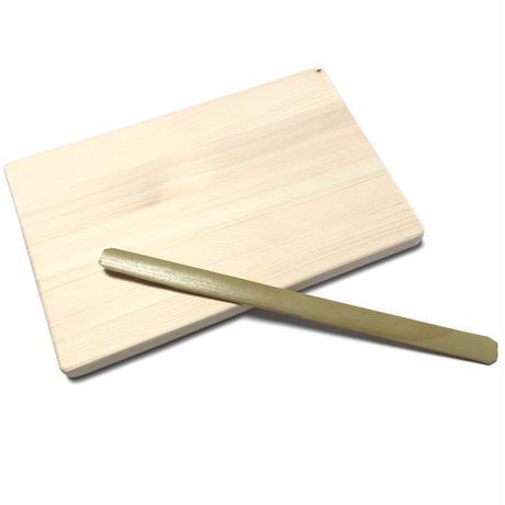 つまみ糊板セット 糊板ひのき集成材 (節あり)&竹ベラセット