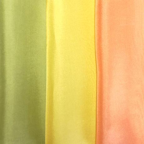 染正絹羽二重8匁 若草・黄・橙 3色セット約20cm×約22cm (3色×各1枚)