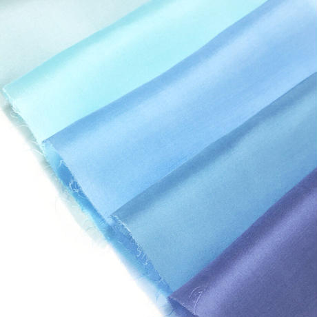 染正絹羽二重6匁 青の色彩 5色セット約20cm×約44cm (5色×各1枚)